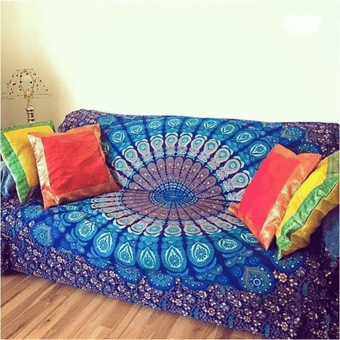 Ultimate Yoga Bliss:Blue Mandala Sofa Cover- A Charming Touch to your Home,[variant_title],Yoga Leggings, Yoga Capri, Yoga Clothing, Yoga accessories
