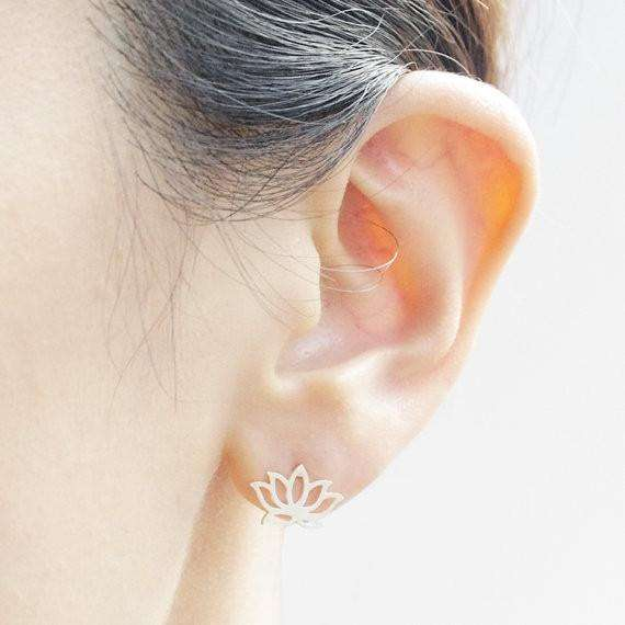 Classy Lotus Flower Gold Silver Stud Earrings-A True Must Have! - Ultimate Yoga Bliss, Yoga Leggings, Yoga Pants, Yoga Tops