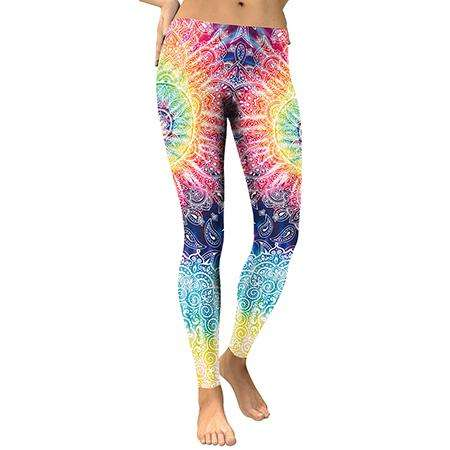 Colorful Indie Printed Leggings - Ultimate Yoga Bliss, Yoga Leggings, Yoga Pants, Yoga Tops