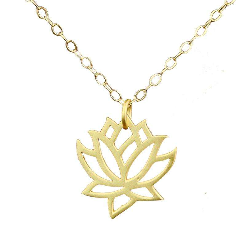 Elegant Gold Plated Blooming Lotus Necklaces- Experience the Vibes of Energy - Ultimate Yoga Bliss, Yoga Leggings, Yoga Pants, Yoga Tops
