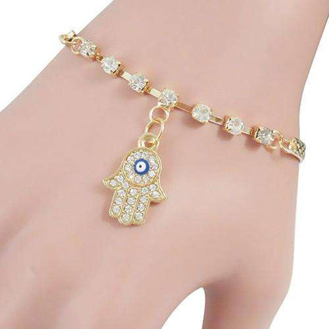 Fancy Rhinestone Hamsa Charm Bracelet- Eye Catching Appeal - Ultimate Yoga Bliss, Yoga Leggings, Yoga Pants, Yoga Tops