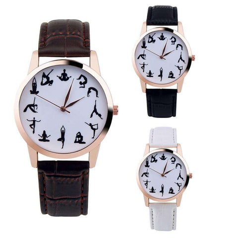 Ultimate Yoga Bliss:Fashion Casual Leather Yoga Pose Wristwatch-Walk In Style With A Trendy Dial,[variant_title],Yoga Leggings, Yoga Capri, Yoga Clothing, Yoga accessories