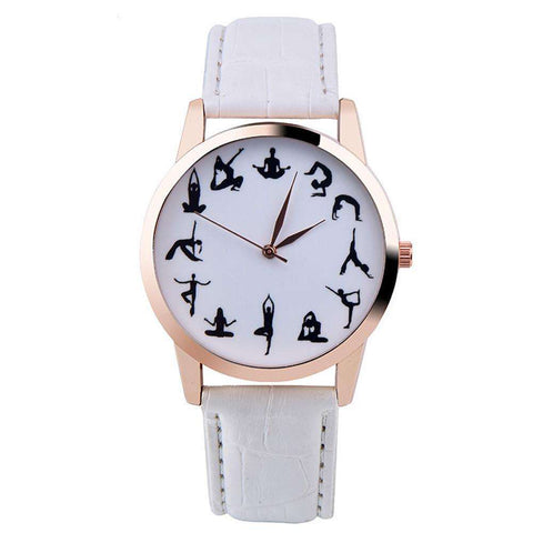 Ultimate Yoga Bliss:Fashion Casual Leather Yoga Pose Wristwatch-Walk In Style With A Trendy Dial,White,Yoga Leggings, Yoga Capri, Yoga Clothing, Yoga accessories