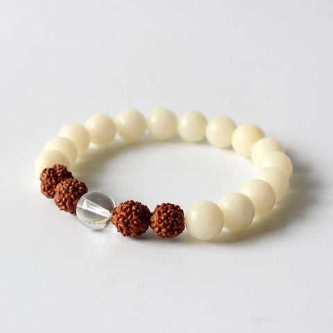 Natural White Bodhi Seed Rudraksha Beads Stretch Bracelet-Accessorize Like You Are Casually Smart - Ultimate Yoga Bliss, Yoga Leggings, Yoga Pants, Yoga Tops