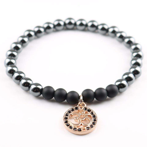 Originality Grey/Black Natural Stone Beads Bracelet with Om Pendant - Ultimate Yoga Bliss, Yoga Leggings, Yoga Pants, Yoga Tops