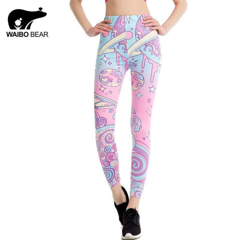 Pink Kawaii Printed Leggings - Ultimate Yoga Bliss, Yoga Leggings, Yoga Pants, Yoga Tops