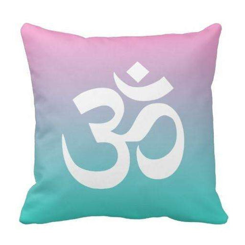Relaxing Pink Turquoise Ombre Om Symbol Pillow Case - Ultimate Yoga Bliss, Yoga Leggings, Yoga Pants, Yoga Tops