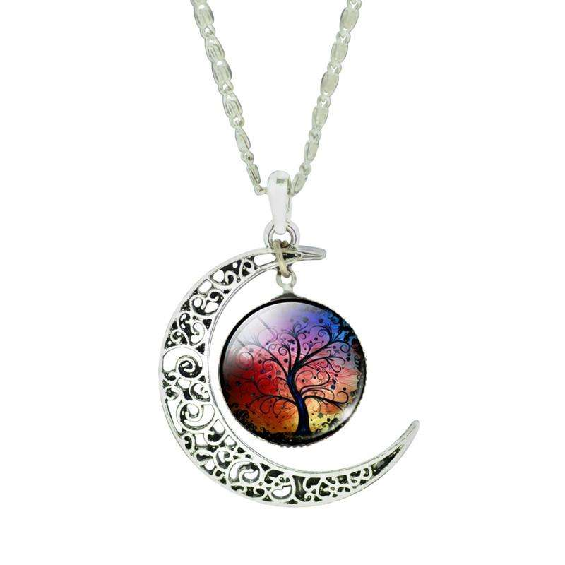 Silver Moon Tree of Life Necklace- A Unique Collectible - Ultimate Yoga Bliss, Yoga Leggings, Yoga Pants, Yoga Tops