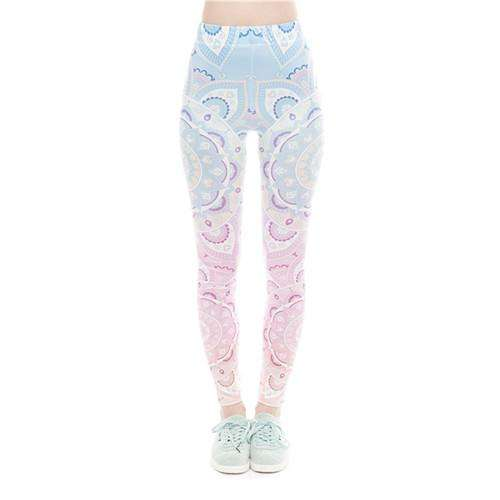 Soothing Summer Printed Leggings - Ultimate Yoga Bliss, Yoga Leggings, Yoga Pants, Yoga Tops