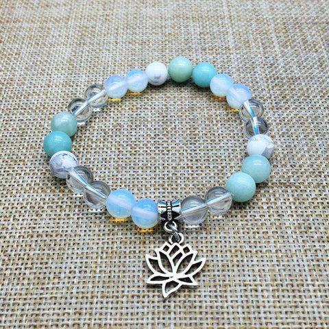 Stone Bead Yoga Energy Lotus Charm Bracelet-Fashion Collectible With a Great Message - Ultimate Yoga Bliss, Yoga Leggings, Yoga Pants, Yoga Tops