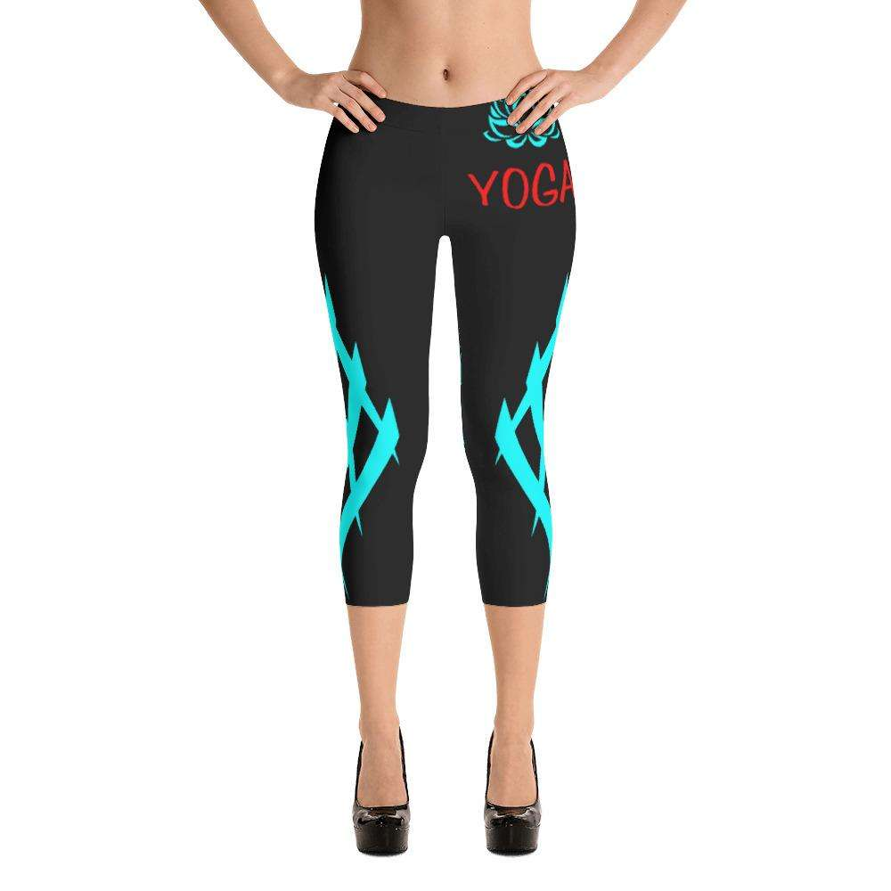 Techno Blue Yoga Capri - Ultimate Yoga Bliss, Yoga Leggings, Yoga Pants, Yoga Tops