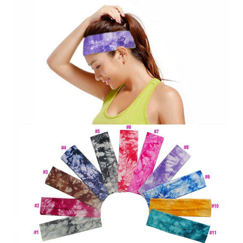 Tie Dye Elastic Stretch Yoga Sports Headband - Ultimate Yoga Bliss, Yoga Leggings, Yoga Pants, Yoga Tops
