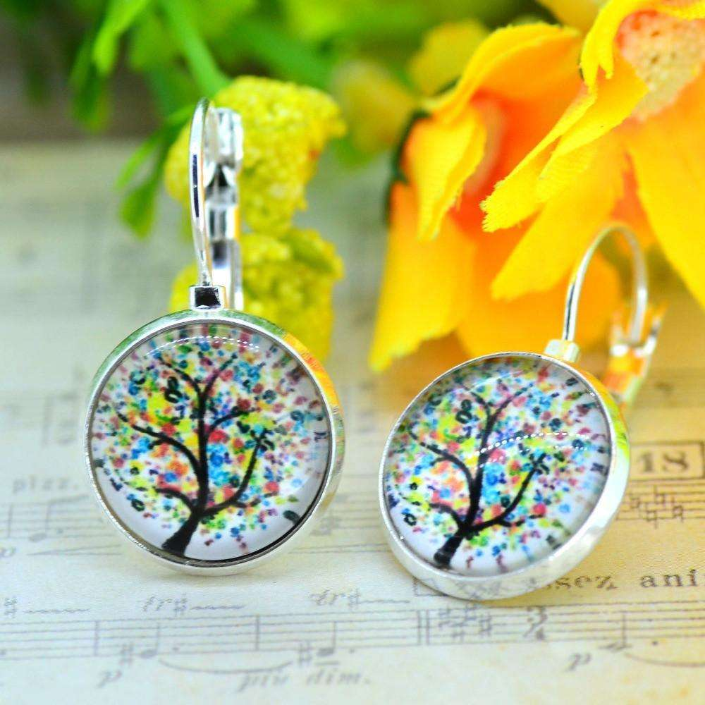 Vintage Family Tree of Life Glass Leverback Hoop Earrings - Ultimate Yoga Bliss, Yoga Leggings, Yoga Pants, Yoga Tops
