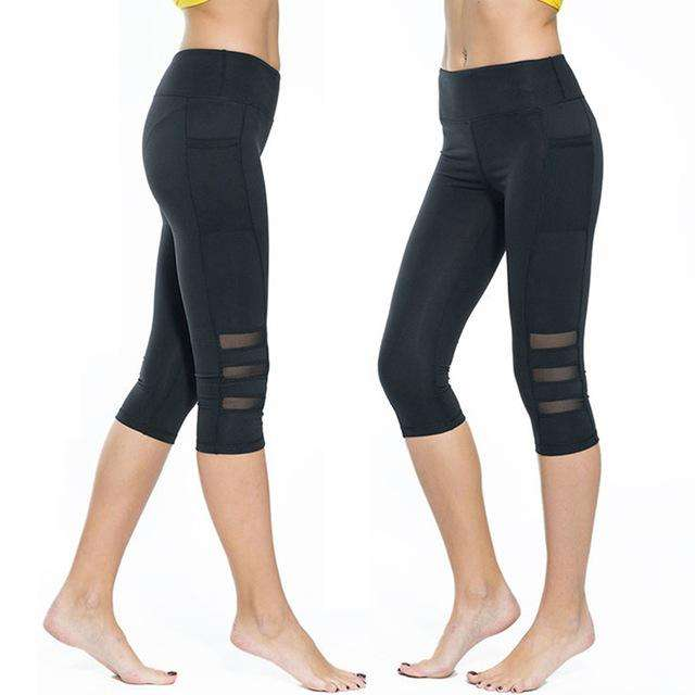 Women Black Mesh Capri - Ultimate Yoga Bliss, Yoga Leggings, Yoga Pants, Yoga Tops