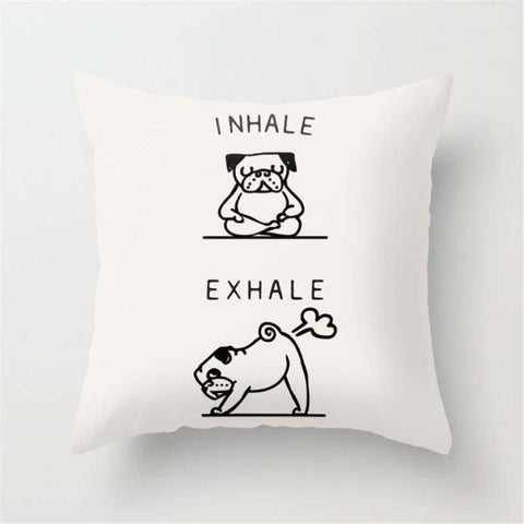 Yoga Pug Dog Cushion Cover- A Laugh at Home - Ultimate Yoga Bliss, Yoga Leggings, Yoga Pants, Yoga Tops