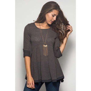 Heather Contrast Tunic Charcoal