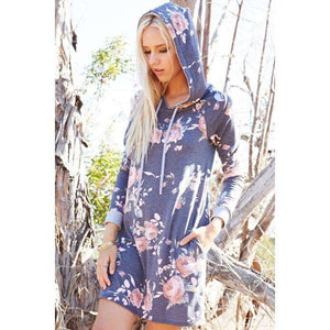 Floral French Terry A-line Hoodie Dress