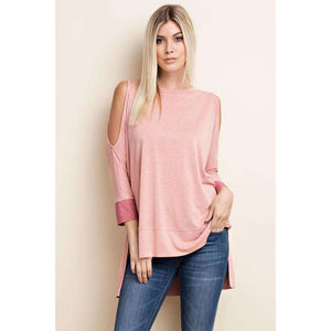 Allyson Two Tone Top with High Low Hem