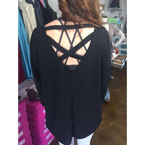 Europe Soft Lush Top With Criss Cross Back Detail