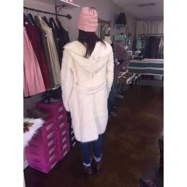 Iceland Long Mohair Hooded Furry Cardigan With Side Pockets