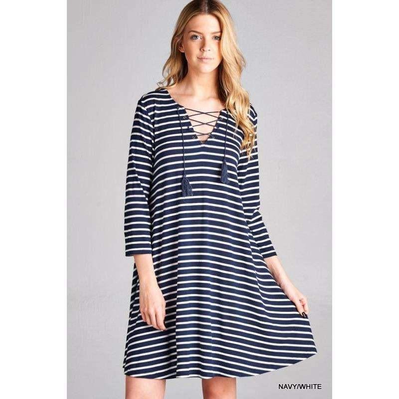 Claire Black and White Striped Lace-Up Tunic