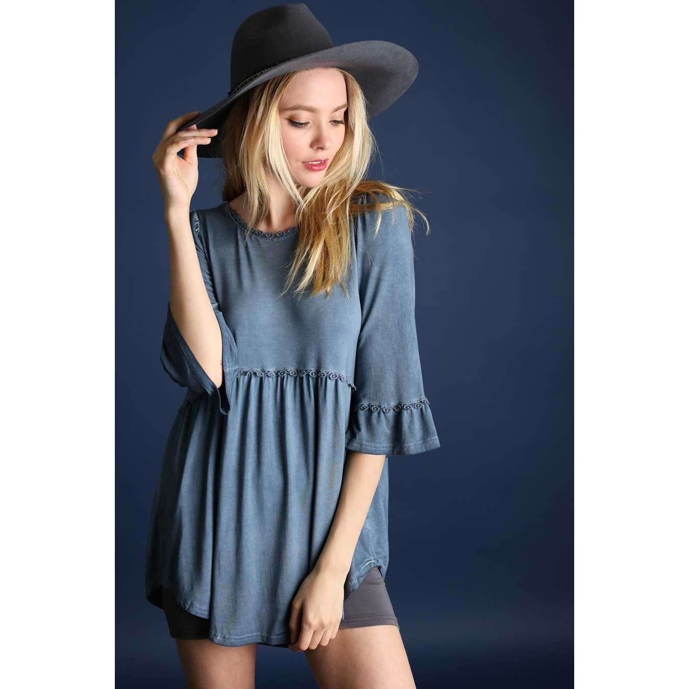 Joni Midnight Blue Babydoll Top