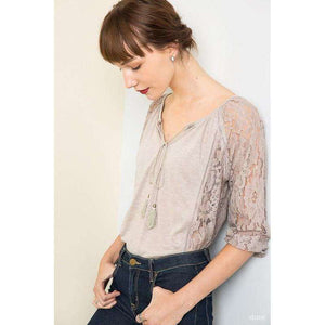 Karley Key Hole 3/4 Sleeve Cream Top with Lace Detail