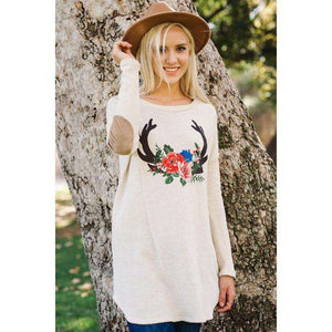 Hello Deer Sweater with Elbow Patch (Lush)
