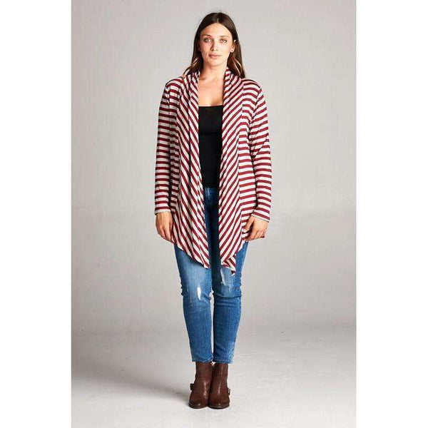 Italy Lush Grey And Crimson Striped Cardigan With Elbow Patch