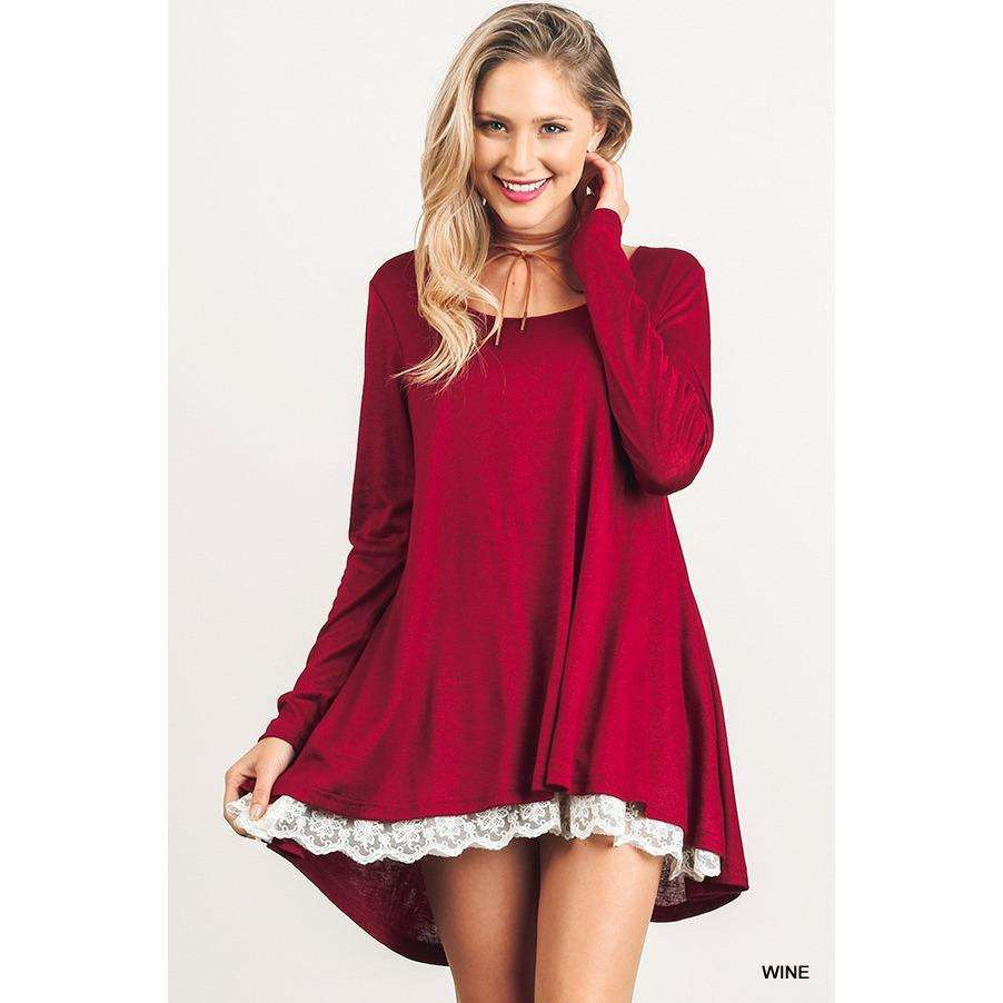 Allison Long Sleeve Tunic with Lace (Lush)