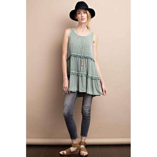 Cindy Sleeveless Mineral Washed Babydoll Tunic