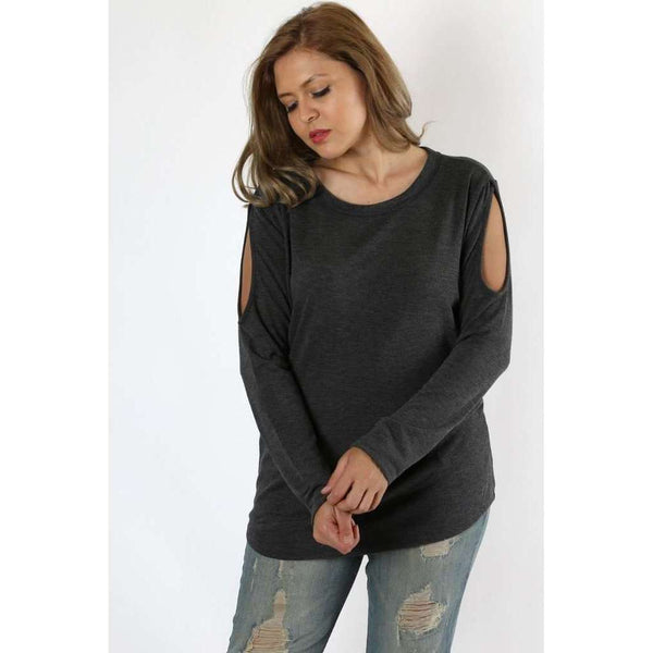 Lynnleigh Cold Shoulder Light Weight Lush Sweater