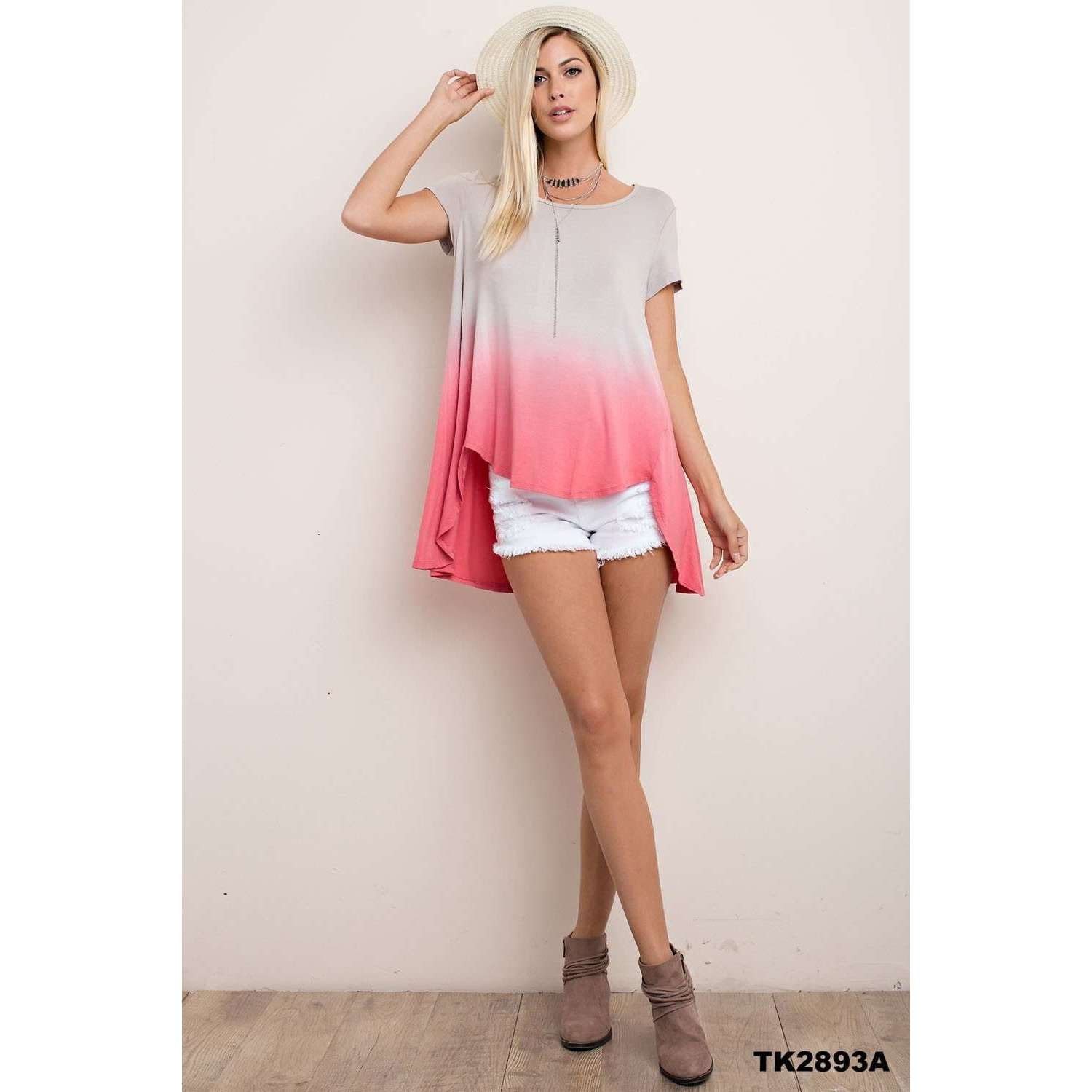 Eleanor Coral Ombre Top