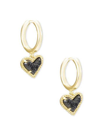 Kendra Scott Ari Drusy Heart Huggie Earrings