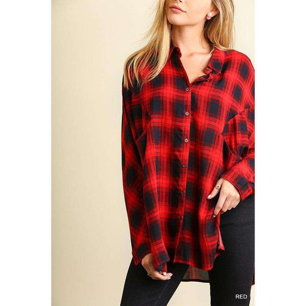 Betsy Plaid Button Top