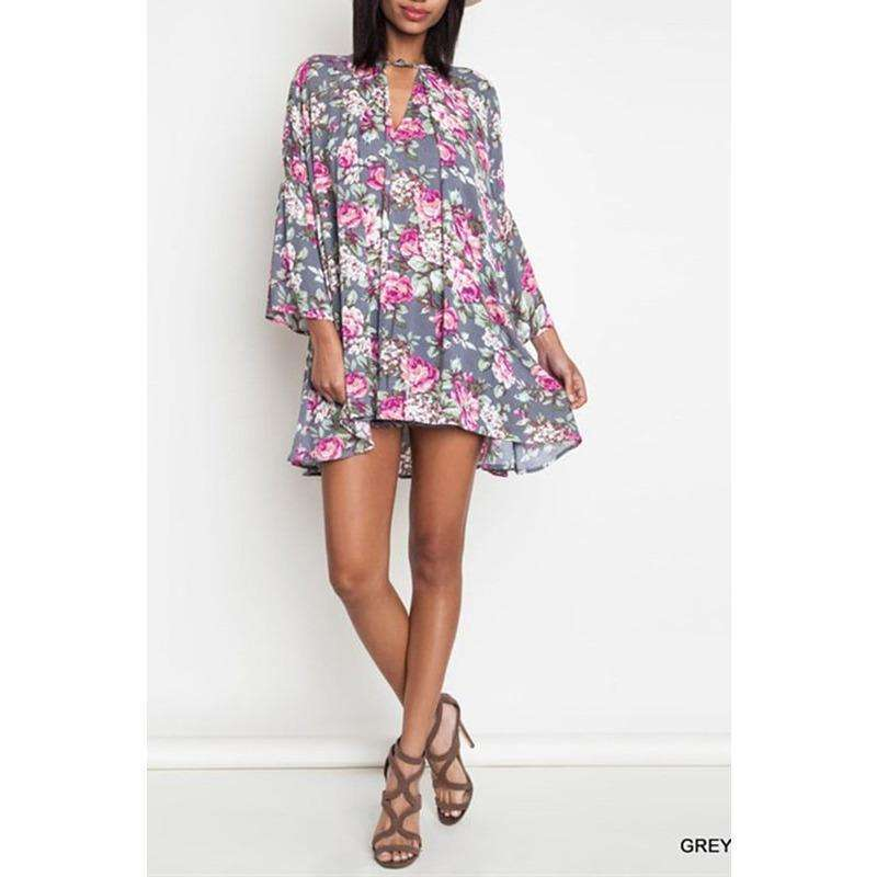 Jaci Floral Print Trapeze Dress
