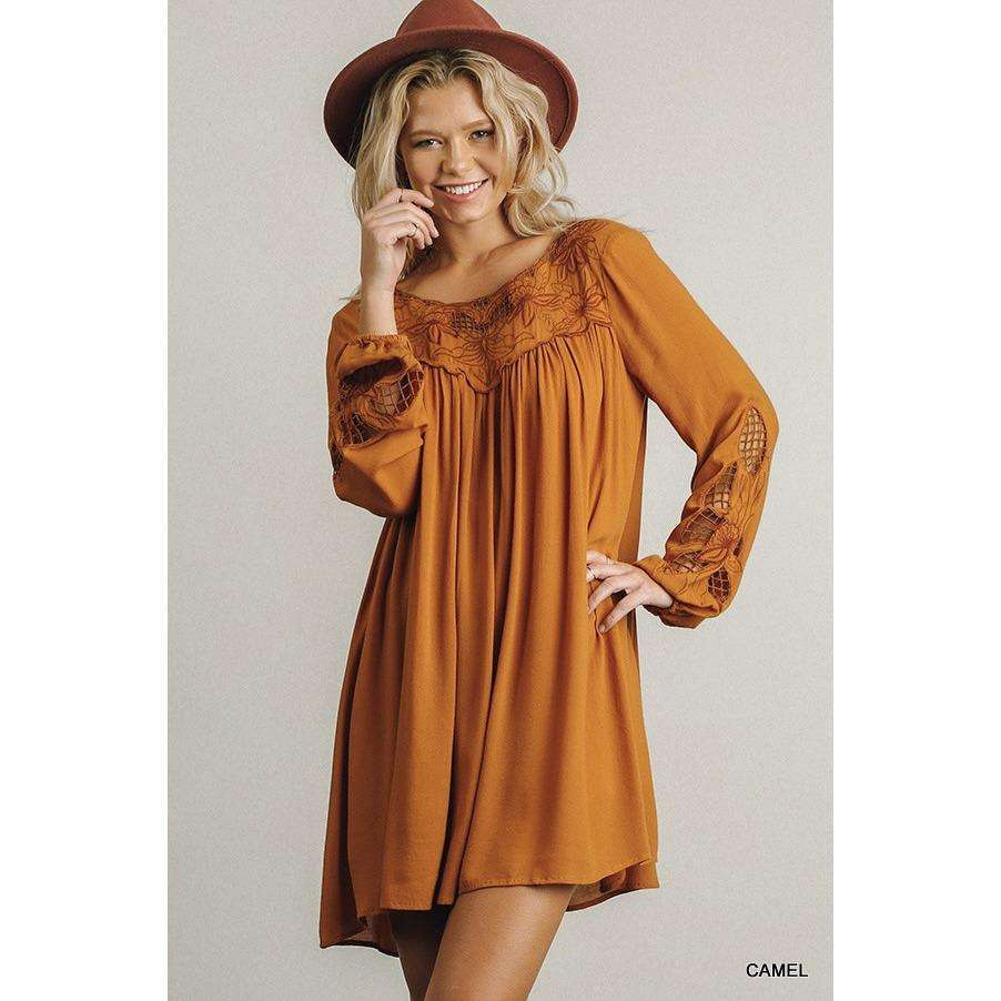 Harlee Lace Detail Camel Dress