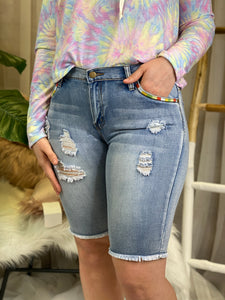 Santine Colorful Embroidered Bermuda Short