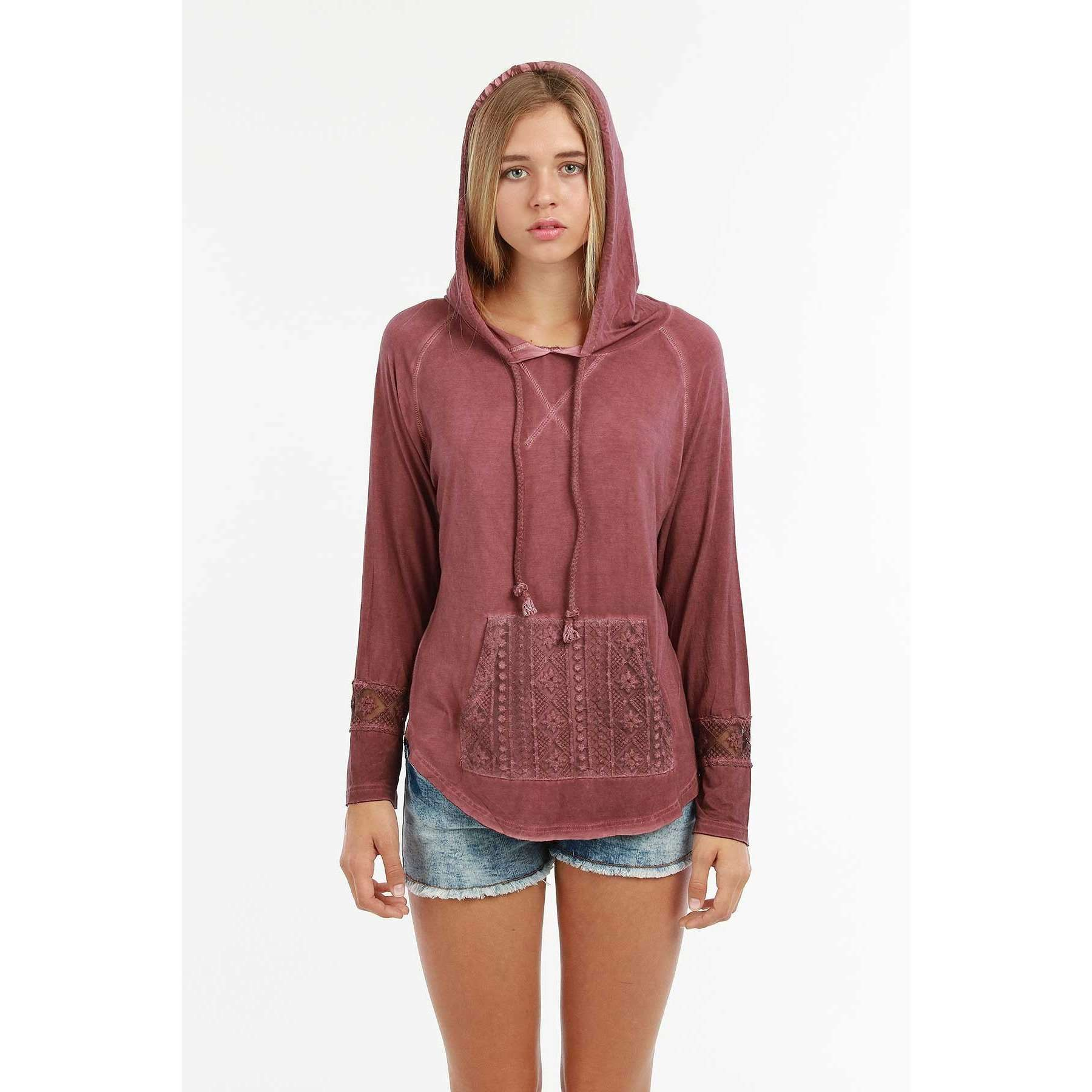 Angie Hooded Lace Detail Top