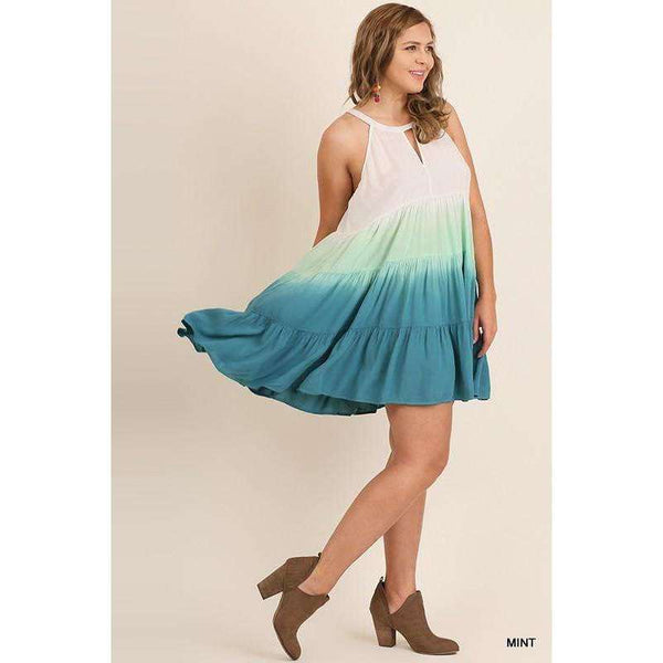 Kendra Sleeveless Ombre Dress w/ Keyhole Front & Back