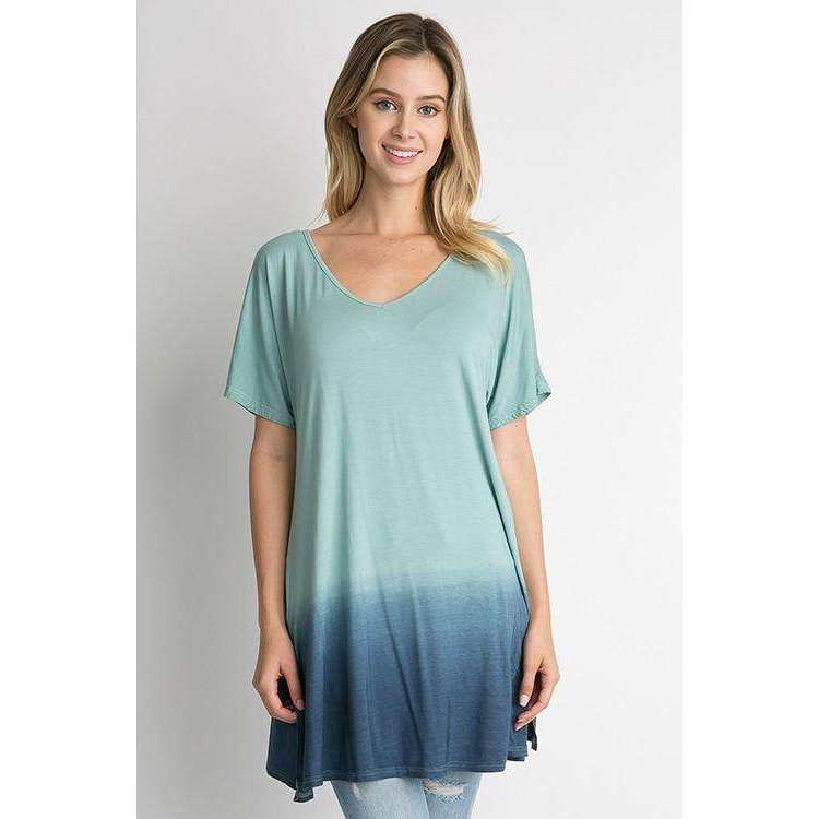 Barbara Navy And Green Ombre Lush Top