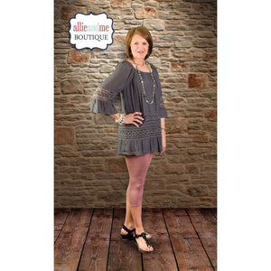 Courtney 3/4 Raglan Tunic w/Crochet Lace Trim