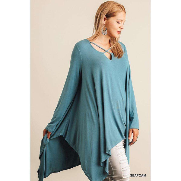 Sienna L/S Tunic w/ Handkerchief Hemline and Criss Cross Neck