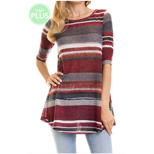 Faith 1/2 Sleeve Striped Tunic