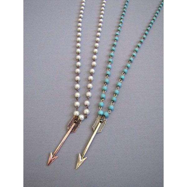 Straight Arrow Pearl Necklace