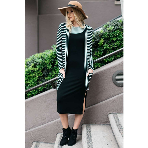 Kirsten Black/White Striped Rayon Cardigan Suede Elbow Patch