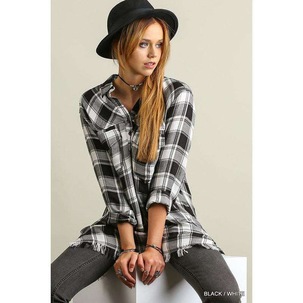 Josie Half Button Plaid