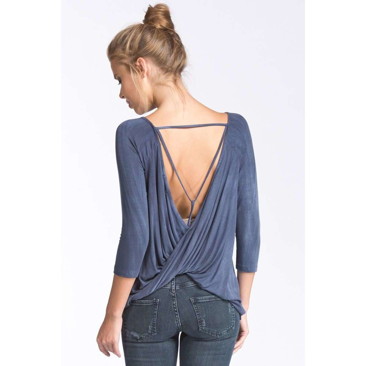 Shancy 3/4 Length Sleeve Top w/ Detailed Back