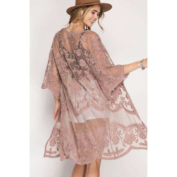 Sandy Crochet Lace Midi Duster Cardigan