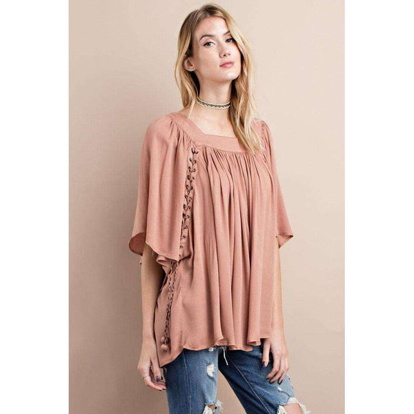 Berlin Dolman Sleeve Babydoll Tunic with Eyelet Detail